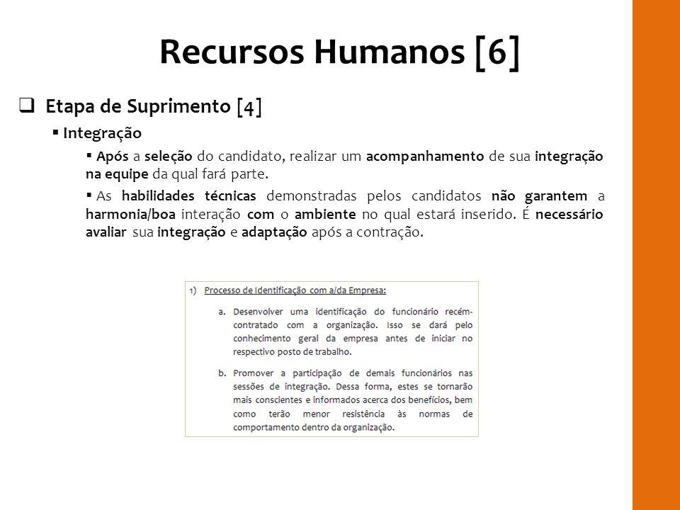 Recursos Humanos [6] RILAY Etapa de Suprimento [4] Integração